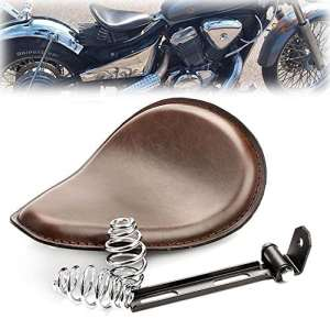 'triclicks Marron Moto assise selle plumes 3 Solo Siège pour Harley Davidson Chopper Bobber Sportster Forty-Eight 48 (XL 1200 x) Honda Yamaha Custom