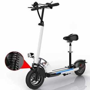 XC Mode Électrique Scooter Portable Pliant Adulte Amortissement Vélo Au Nom de la Conduite de Deux Tours de Scooter de Batterie Au Lithium,Blanc