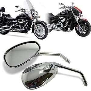 10MM Rétroviseurs Latéraux Moto Chromé Rétroviseur Pour Honda Kawasaki Suzuki Chopper Scooter