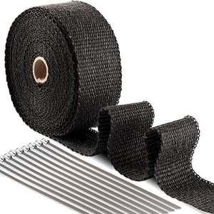 Bande Isolant Thermique Céramique pour Tuyeau Manifold Noir + 10 Colliers en Inox