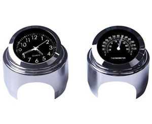 Moto Horloge De Guidon Et Thermomètre 7/8″ 1″Horloge De Guidon Moto Universelle Imperméable Yamaha Kawasaki Honda Suzuki Harley Davidson (Noir)