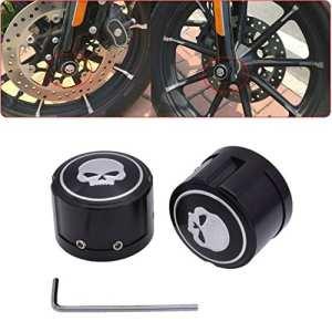 Tuincyn Moto Coque essieu avant en aluminium capuchon Écrou Boulon à tête de mort décoratifs matériel kit pour Harley Sportster Xl883Xl1200Noir (1paire)