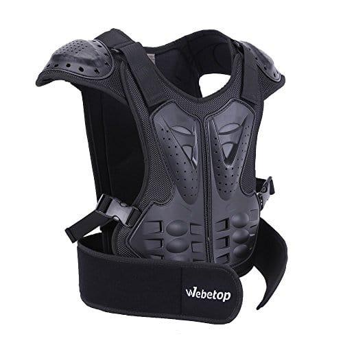 Webetop Veste de protection Dorsale Enfant Gilet de protection pour Moto/Sport Moto Veste Armure Complète du Corps Protection de Colonne Poitrine Epaule Noir M