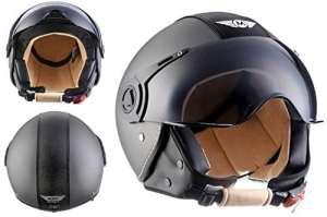 Moto Helmets H44 Bobber Vintage Chopper Demi-Jet Helmet Scooter Chopper Pilot Retro Biker Vespa Moto Mofa Casque Jet Cruiser, Gris (Titan), S (55-56cm)