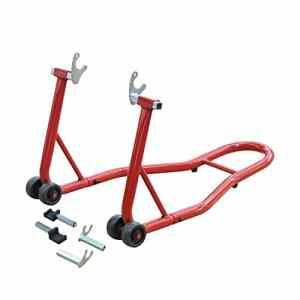 Support béquille de moto arrière lève moto arrière sur roulettes avec adaptateurs caoutchouc rouge et noir neuf 01