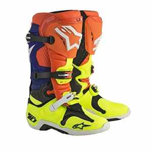 Bottes Moto Cross Alpinestars Tech 10 Orange Fluo Bleu Blanc Jaune Fluo