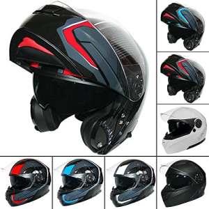 Leopard Leo-888Graphic DVS Flip à l'avant casque de moto casque de moto avec double Pare-soleil (Rouge/gris/noir L)