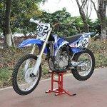 Lève moto béquille d'atelier stand moto tout-terrain moto cross supermotard hauteur réglable rouge et noir neuf 05