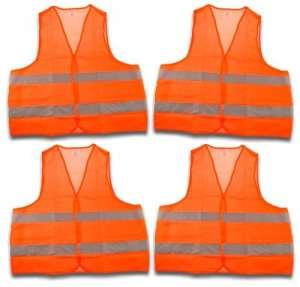 4 Pièces-gilet de sécurité gilet de sécurité norme eN 471 pannenweste avec bandes réfléchissantes et orange fermeture velcro taille unique