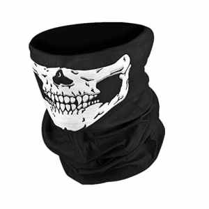 Moto Masque Balaclava Masque Skull Cagoule Bandana Masques de Crâne Squelette Masque Écharpes Tubulaire Multifonction Rave Masque Neck Warmer pour Halloween Outdoor Paintball Biking-Hmjunboys (Noir)