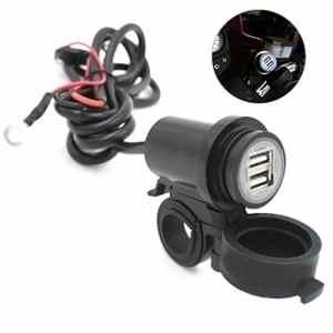 Cargool Moto Chargeur Prise étanche pour Moto Guidon Adaptateur D'alimentation Double USB Chargeur pour Motos, Scooters et Tracteurs, Idéal pour Charger Votre Smartphone, Tablette, Appareil Photo et GPS, Noir