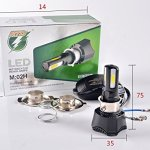 FEZZ Moto LED Ampoule Phare 40W H4 H6 S2 BA20D P15D25-1 Lampe avant avec Ventilateur Refroidissement 4 LED Hi Lo Beam 4600Lm 6000k