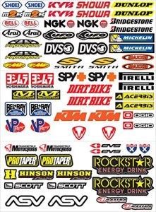 GamesMonkey Lot de 73autocollants pour moto, motocross, scooter Vinyle
