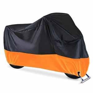 Lnkey Housse de protection pour moto Scooter, Moto Couverture Imperméable 210D , Super contre la pluie, la neige, la poussière et la saleté, les rayons UV, Taille XL Orange Noir