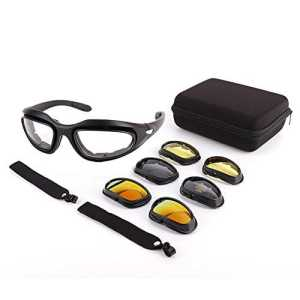 Lunettes de Moto – Lunettes de Protection UV avec 4 Lentilles Interchangeables pour Moto Vélo Escalade Ski