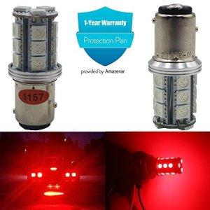 AMAZENAR 2-Pack 1157 BAY15D 7528 2057 2357 Brilliant Rouge LED Lumière, Non-Polarité 10-30V-DC 5050 18 SMD Remplacement Ampoule Pour Feu de Freinage