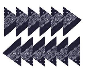 BOOLAVARD Coton, 1er 6 ou 12 Pack Bandanas avec motif Paisley original | Couleur au choix (12 Bleu Marine)