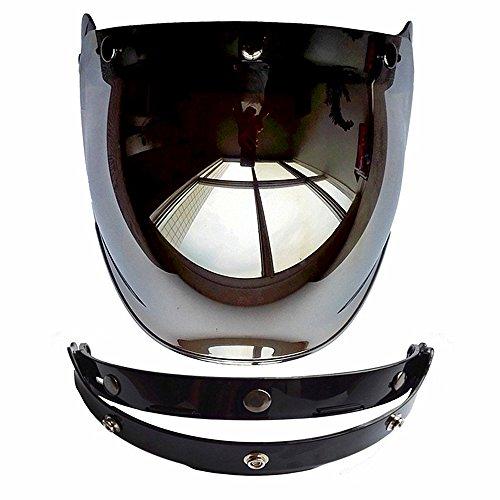 Cuzaekii Ouvrir Visage Motocyclette Casque Bulle Visière Lentille Moto Lunettes s'adapte pour Harley & Jet Casque Visière de casque Helmet Visor (Argenté)