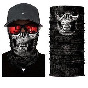 inGun Multifonction Tour de Cou Polyester Crane Cache Cou Motards Airsoft Masque Chapeaux en Tube (Dark Skull)