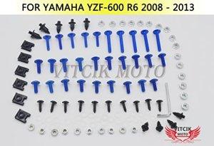 VITCIK Kits de boulons pour moto Yamaha YZF – 600 R6 2008 2009 2010 2011 2012 2013 attaches aluminium CNC (Bleu & Argent)