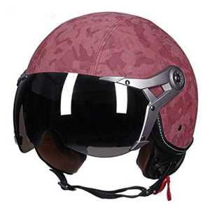 Casque de moto rétro – À moitié couvert avec visage ouvert – Pour hommes et femmes, F, L (55-57cm)