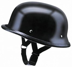 Casque type Allemand Noir Mat pour Shows et rassemblements Moto Custom (M)