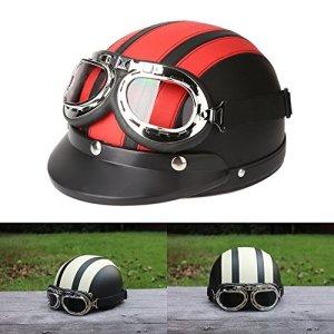 ViZe Casque Bol Demi Ouvert Casque Moto Protection Motocyclette Unisex Avec Visière et Écharpe 54-60cm (Rouge)