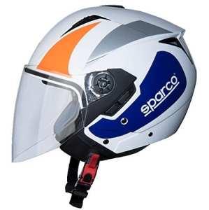 BHR 43494Casque Moto, Blanc/Orange, Taille L
