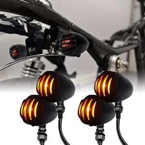 LEAGUE&CO 4x Clignotant Moto Universel pour Custom/Bobber Honda Suzuki Kawasaki Triumph Ambre Feux Signal Indicateurs en Metal Noir
