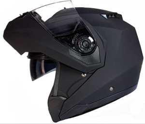 Qtech Casque Modulable Pare Soleil Interne – Moto Scooter – Noir Mat – S (55-56cm)