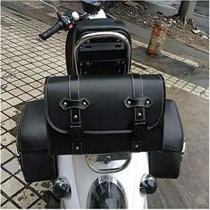 Sac de selle en cuir moto noir Kit sac de voyage universel Pour Harley Davidson sac de rangement