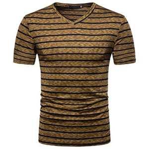 ❤️ T-shirt Homme, Yesmile Homme Chemise À Manches Courtes D'été Décontracté Soid T-shirt V Neck T-shirt Top Blouse Bleu Noir Café (s, Café)