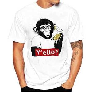 T-shirt Hommes, Yesmile Chemise à Manches Courtes Hommes Imprimer T-shirt Blanc Blouse (4XL, Blanc)