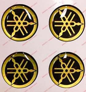 Emblème Logo Decal Yamaha, Kit de 4autocollants, Résine Effet 3d. Couleur: Noir–Or. Pour réservoir ou casque