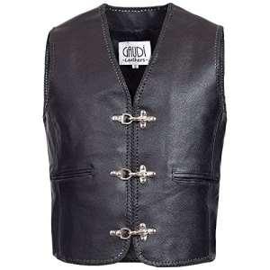Gaudi-Leathers Veste Homme en Cuir Moto Biker Vest Gilet Crochet Mousqueton et Laçage Latéral 3XL