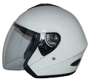 protectWEAR – Casque Ouvert V510 Casque de Moto avec Visière Blanc Brillant – M