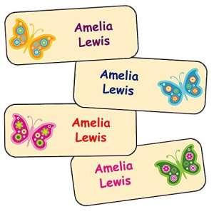 Stickers Personnalisés Prénom Et Nom | Autocollants Personnalisés Étanches Motif Papillons (40)