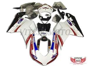 VITCIK (Kits de Carénage fixation DUCATI 1098 848 1198 2007 2008 2009 2010 2011 2012) Moule pour injection de plastique ABS Parties cycle de motos complètes Pièces détachées de Cadres du marché des pièces détachées Accessoires(Blanc & Rouge) A057
