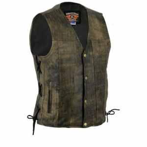Bikers Gear Australia limitée Premium 1,3mm souple en cuir de vache Harley Style Gilet réglable avec dentelle côtés et poches, Distressed Marron, taille XL