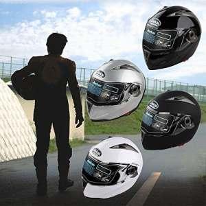 Casque de Moto Intégral Modulable Motocross Double Visière Pare-soleil Casque de Protection (Argent, XXL: 63-64cm)