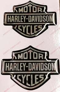 Emblème Logo Decal Harley Davidson, couple Stickers, Résine Effet 3d. Pour réservoir ou casque. nero-cromo