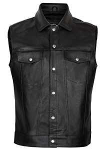 Juicy Trendz Homme en Cuir Moto Biker Gilet Motorcycle Leather Vest