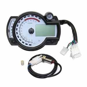 JullyelegantFR Tachymètre numérique Réglable d'odomètre d'indicateur de Vitesse de tachymètre d'affichage à Cristaux liquides de Digital de Moto Universel avec Le Panneau Blanc 299 MPH/Kph Odograph