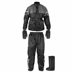 Anti Pluie Combinaison Kit Blouson Pantalon Gants Surbottes Impermeable noir L