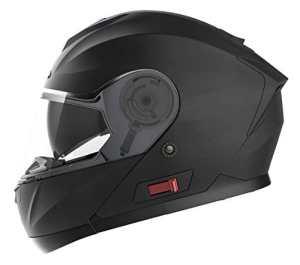 Casque Moto Modulable Homme ECE Homologué-YEMA YM-926 Casque Scooter Femme Adulte Double Visière-Noir Mat-L