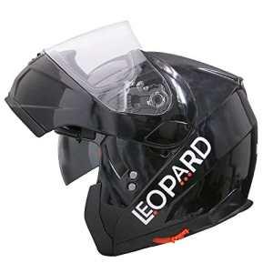 Leopard Leo-838double Pare-soleil modulaire à rabat à l'avant pour moto casque de moto Noir brillant Scooter de sécurité _ L (59-60cm)