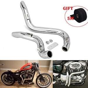 JFG RACING 2″ Chrome Laf Drag Pots d'échappement silencieux pour Harley-Davidson Sportsters, Sacs, Softails et Douanes