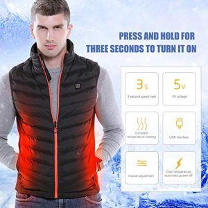 kati-way Gilet Chauffant Hiver USB Electrique Chauffage en Coton Homme Vêtements Réglable Température pour Moto Ski Pêche Sport Camping Contre Le Froid