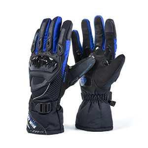 Moto Gants hiver chaud gants de protection 100% imperméable Coupe-Vent GUANTES luvas écran tactile (M, Nouveau bleu)