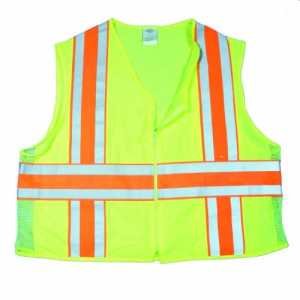 Mutuelle 16334Polyester haute visibilité ANSI Classe 2Deluxe Dot Gilet de sécurité Gilet avec poches, grande, Citron vert,